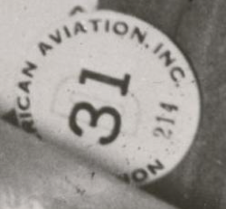 "Factory button worn by Pearlyne ""North American Aviation D31, 214"""